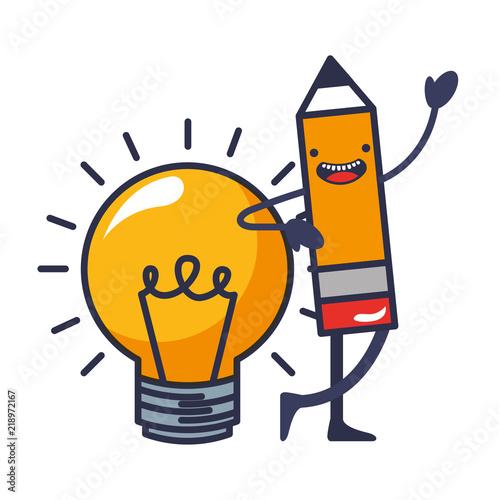 Foto  pencil write with light bulb kawaii