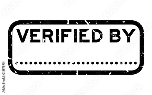 Grunge Black Verified By Word With Dot Line For Signature Square Rubber Seal Stamp On White