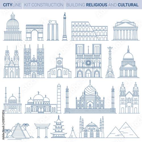 Papel de parede Line Vector Illustration Set. City landmarks