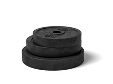 3d Rendering Of Three Black Barbell Weights Of Different Weight Lying On Top Of Each Other On A White Background.