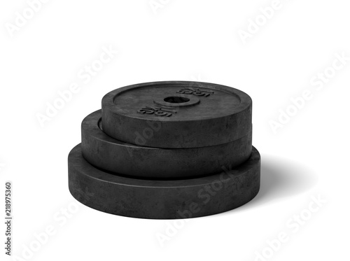 3d rendering of three black barbell weights of different weight lying on top of each other on a white background Wallpaper Mural