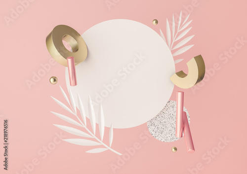 3d rendered illustration with flying geometric shapes, leaves, frame.
