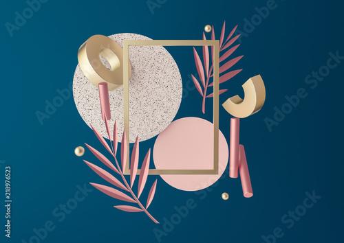 Fototapeta 3d rendered illustration with flying geometric shapes, leaves, frame. obraz