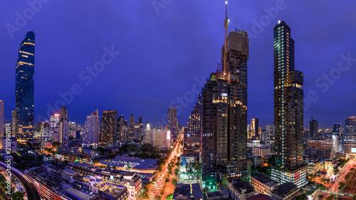 Foto auf AluDibond Dunkelblau Bangkok, Thailand - July 16, 2018: Silom Road, major business district at night.