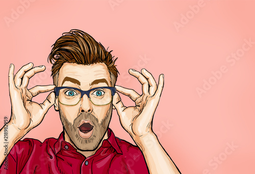 Portrait of man in glasses says wow with open mouth to see something unexpected. Shocked  guy with surprised expression. Emotions concept