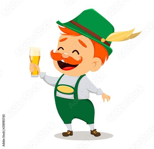 Slika na platnu Oktoberfest, beer festival. Funny man