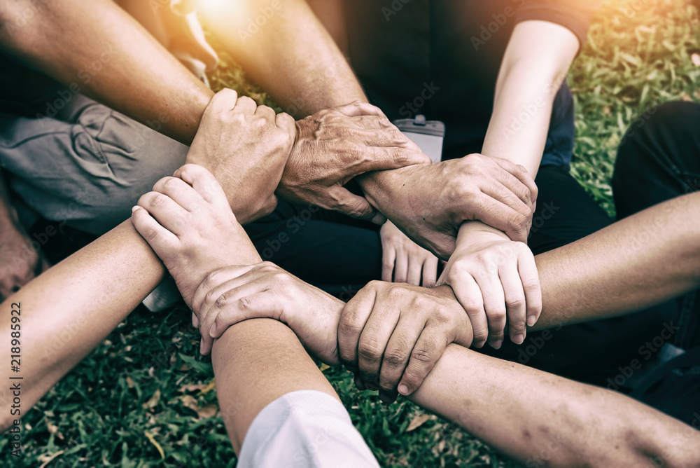 Fototapety, obrazy: The abstract art design background of human hands are touching together,United hands together,expressing positive,teamwork concept