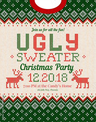 Photo Ugly sweater Christmas party invite