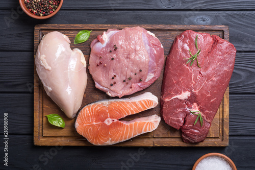 salmon , beef , pork and chicken