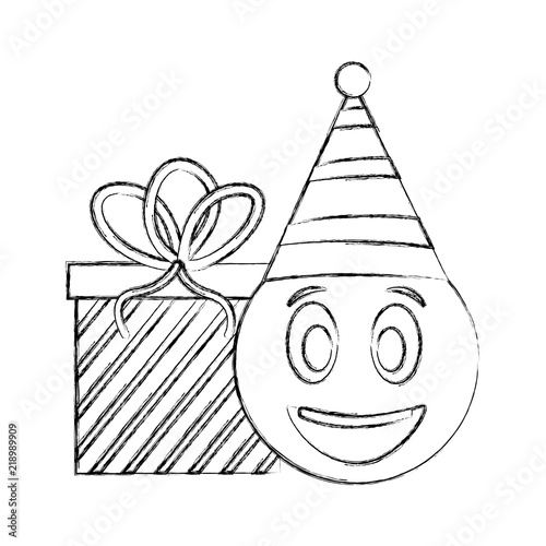 Birthday Emoji Face With Party Hat And Gift Vector Illustration Hand Drawing