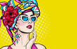 canvas print picture - Pop Art woman with wow face in glasses holding hand near her cheeks. Advertising poster of sale or discount with sexy club girl.
