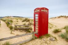 Remote Red Phone Box On Beach