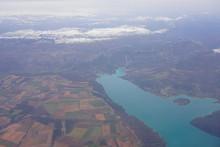 Aerial View Of The Lac De Sainte-Croix Lake In Sainte Croix Du Verdon, Alpes De Haute Provence, France