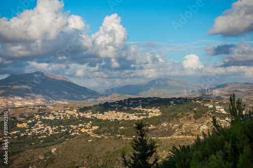 Fotografie, Obraz  Beautiful panoramic view from Erice  at Mediterranean sea and Monte Cofano, Sici