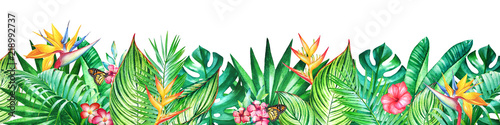 Obraz Background with watercolor tropical plants and flowers - fototapety do salonu