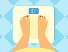 Illustration Of Female Legs On The Floor Scales.  Vector Weight Watcher. The Problem Of Excess Weight, The Concept Of A Healthy Lifestyle. Pregnant Female Legs And Tummy On The Floor Scales.