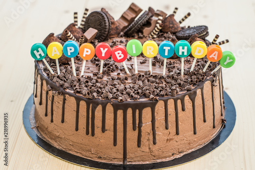 Cool Happy Birthday Chocolate Cake Buy This Stock Photo And Explore Birthday Cards Printable Opercafe Filternl