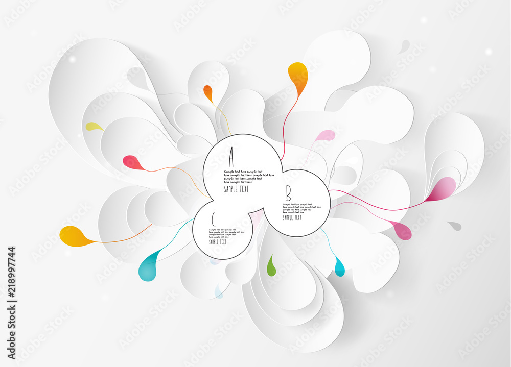 Abstract white and gray flower background with circles.