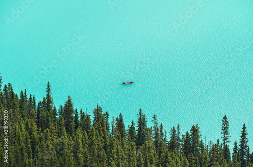Foto op Canvas Groene koraal Canoes at Lake Louise from above 1