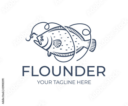 Fotomural Fishing and fish, flounder grabs bait on hook and line, logo design