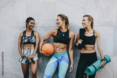 Fitness women having fun after workout