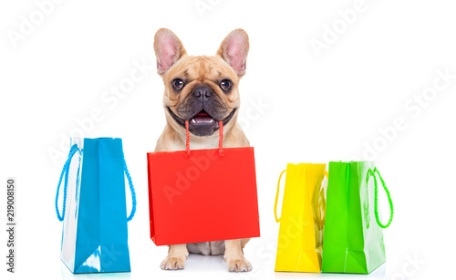 Canvas Prints Crazy dog sale shopping dog