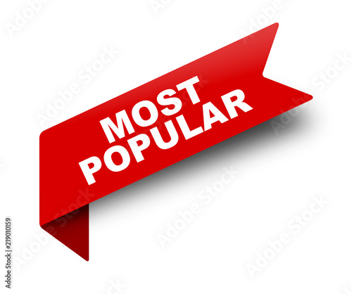 Valokuvatapetti red vector banner ribbon most popular