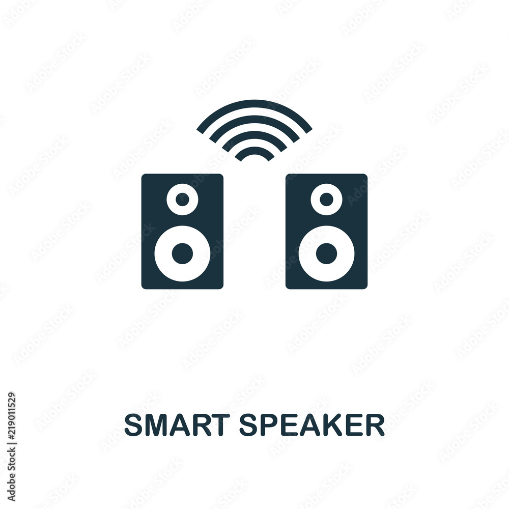 Smart Speaker icon. Monochrome style icon design from smart devices icon collection. UI. Illustration of smart speaker icon. Pictogram isolated on white. Web design, apps, software, print.