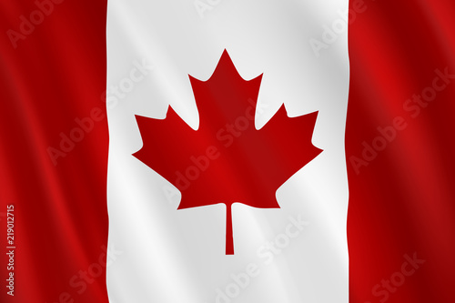 Spoed Foto op Canvas Canada Realistic waving Canada Flag. Vector background.