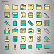 Office Supply Color Line Icons perfect pixel.