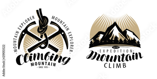 Mountaineering, climbing logo or label Wallpaper Mural