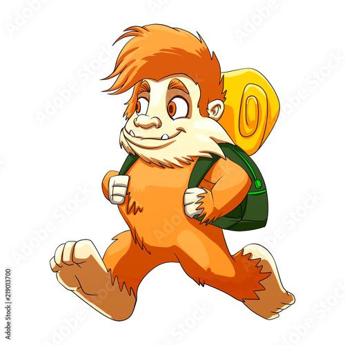 Photo  Bigfoot hiker cartoon illustration