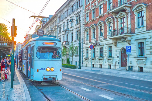 Fototapeta The retro styled trams in Krakow, Poland obraz