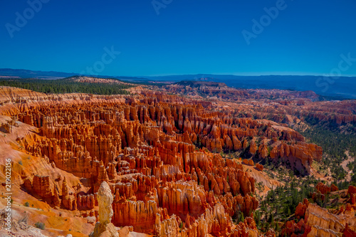 Bryce Amphitheater in a beautiful sunny day and blue sky in Bryce Canyon National Park, Utah