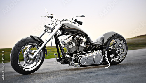 Fotografia, Obraz Custom black motorcycle on the open road. 3d rendering