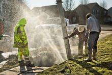 Muddy Utility Worker Men Fixin...