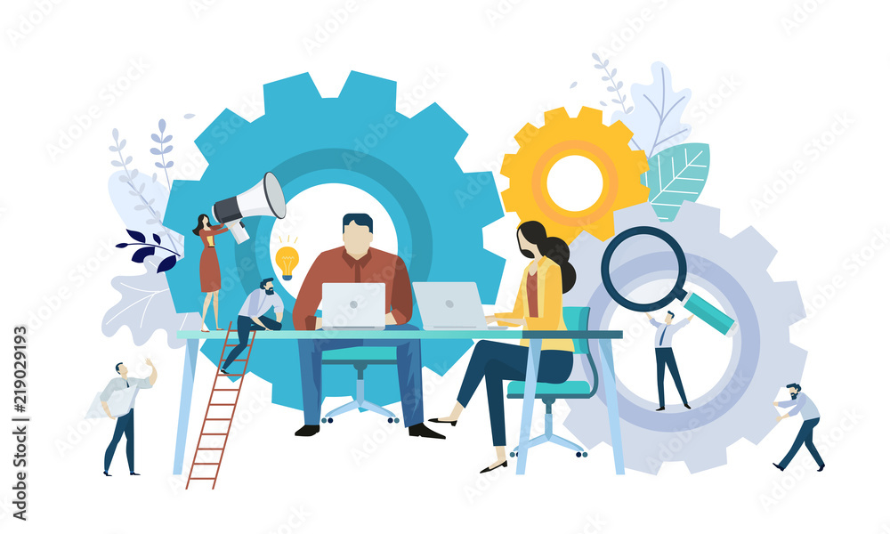Fototapety, obrazy: Vector illustration concept of teamwork, project management, workflow, business mechanism, research and development. Creative flat design for web banner, marketing material, business presentation.