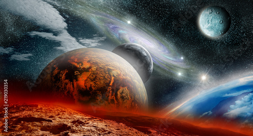 Naklejki kosmos  czerwona-i-niebieska-planeta-w-kosmosie
