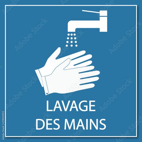 Obraz Logo lavage des mains. - fototapety do salonu