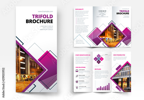 trifold brochure layout with geometric elements buy this stock