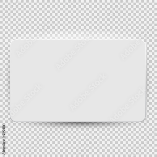 Fotografia White blank credit or gift card model template top view with shadow isolated on transparent background