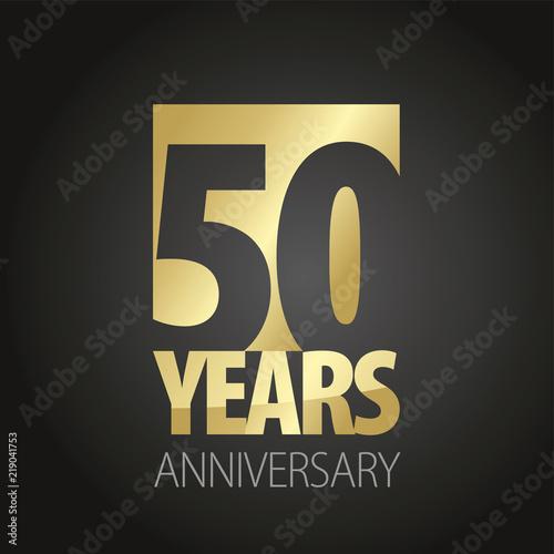 50 Years Anniversary gold black logo icon banner Wallpaper Mural