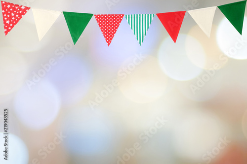 Colorful Party Flags Hanging On Blur Abstract Background Birthday