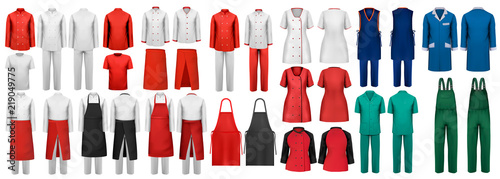 Leinwand Poster Mega set of overalls with worker and shefcooks and medical clothes