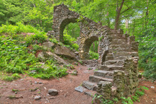 Castle Staircase Ruins From Madame Sherri Forest In West Chesterfield, New Hampshire (USA).