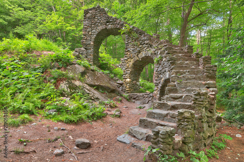 Castle staircase ruins from Madame Sherri Forest in West Chesterfield, New Hampshire (USA) Wallpaper Mural