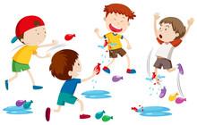 Children Playing Water Balloon...