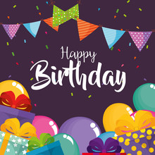 Happy Birthday Card With Balloons Air