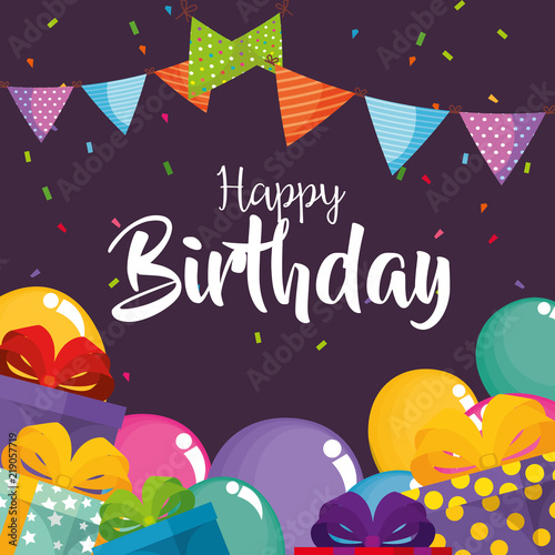 Wallpaper Mural happy birthday card with balloons air