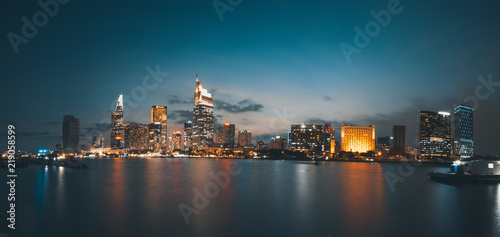 Beautiful landscape of Ho Chi Minh city or Sai Gon. Royalty high quality free stock image of Ho Chi Minh City with development buildings. Ho Chi Minh city is the biggest city in Vietnam